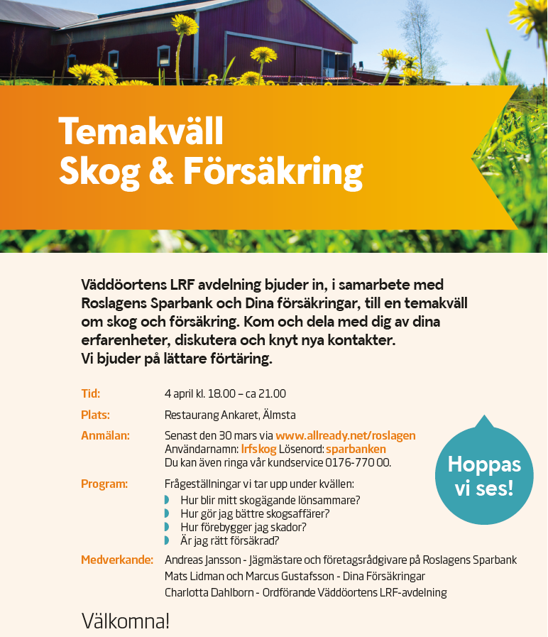 LRF Temakväll Skog&Försäkring på Restaurang Ankaret